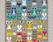 20% off Fancy Forest Quilt Pattern by Elizabeth Hartman, Woodland Animals, Nursery, Fox, Owl, Rabbit, Hedgehog Quilt, Baby Quilt, Bed Quilt