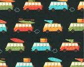 SALE, Beachy Keen fabric, Hawaiian fabric, Surf fabric, Beach Decor, Travel fabric, Black fabric, Robert Kaufman, Choose your cut