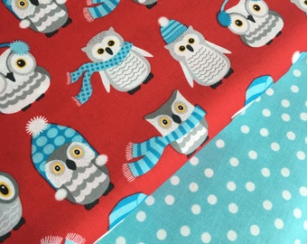 Owl fabric, Red fabric, Nursery fabric, Childrens fabric, Winter fabric, Polar Pals by Robert Kaufman, Bundle of 2- Choose the Cut
