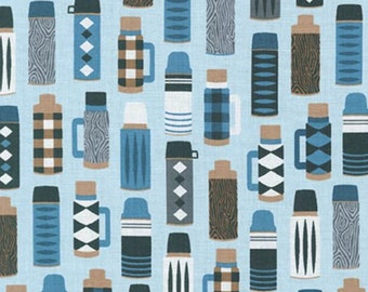 Burly Beavers Fabric, Hipster fabric, Thermos in Denim, Blue fabric, Lumberjack, Robert Kaufman- Choose the cut. Free Shipping Available