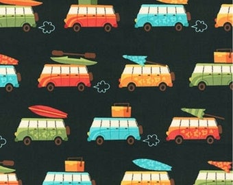 Beachy Keen fabric, Hawaiian fabric, Surf fabric, Summer fabric, Beach Decor, Travel fabric, Black fabric, Robert Kaufman, Choose your cut