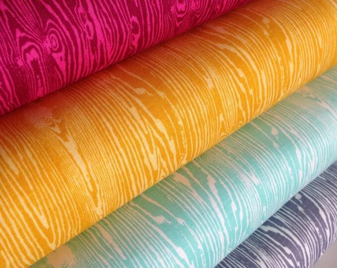 Woodgrain Fabric, Woodland Nursery, Faux Bois Fabric, True Colors by Joel Dewberry, Quilt fabric, Wedding Fabric, Craft, Fabric Bundle of 4