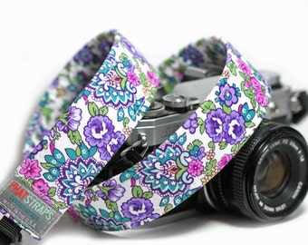 Floral Camera Strap, Purple Flower Camera Strap,  Flowerista