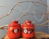 VINTAGE JARS...2 orange ceramic jars flower retro kitchen - gift ideas - ceramic tile print
