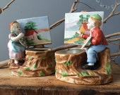 VINTAGE HOME...set of 2 little planters-painting couple-Orion porcelain-flower display