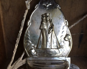 VINTAGE HOME...Holy water wall decor-wood glass Catholic relic-virgin Mary-Louvre
