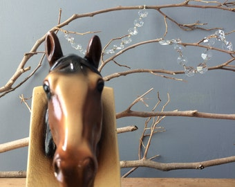 VINTAGE HOME...horse head art plaster equestrian art office bookshelf library guy father