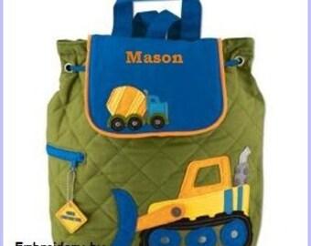 Personalized Construction,Backpack, School Bookbag, Toddler Backpack, Diaper Bag, Childrens Monogramed Backpack, Boy Backpack,School Bag