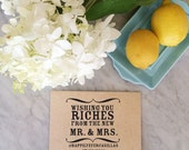 wedding favor stamp, wishing you riches, mr and mrs stamp, custom stamp, monogram stamp