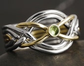 6 band puzzle ring with natural peridot cabochon in solid gold - 10kt 14kt 18kt