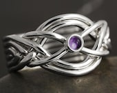 Amethyst cabochon handmade 6 band puzzle ring in sterling silver