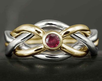 Natural ruby puzzle ring in solid gold - celtic knot, infinity knot, love knot, engagement ring, wedding band, wedding ring, 10kt,14kt 18kt