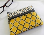 Grey and yellow handmade double zipper pouch purse for coins and cards.