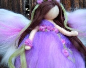 Purple Garden Blessing Fairy-  Needle felted wool fairy angel Waldorf inspired creation by Rebecca Varon aka Nushkie