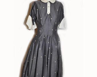 Vintage 1950's Grey and White Polka Dot Lucy Dress B32 W24