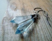 Light Blue Dagger Earrings Vintage Lucite Sterling Wire Wrapped Modern Statement Jewelry Geometric Jewelry Pastels Gifts For Her