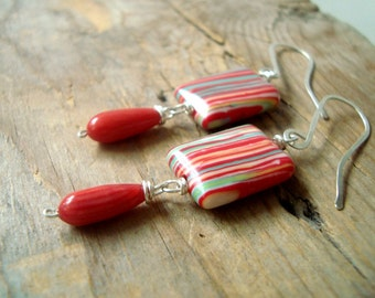 Striped Glass and Coral Earrings - Carnavale. Red and Green Statement Jewelry Holiday Jewelry Gifts Under 40 Christmas Modern