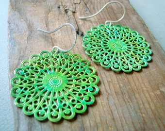 Green Filigree Earrings, Hand Painted, Vintage Style, Spring Fashion, Sterling Silver, Gifts Under 30 Metal Jewelry Statement Jewelry