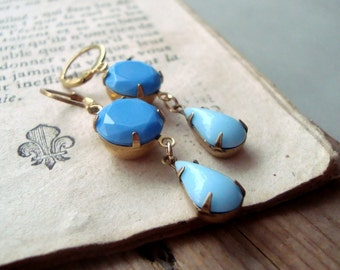 Sky Blue Rhinestone Earrings Vintage Style Bridesmaid Brass Jewelry Mothers Day Jewelry March Birthstone Spring Earrings Gifts Under 30