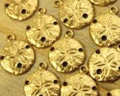 Sand Dollar Charms - 12 pcs - Yellow Brass - Teenie Tiny Sand Dollars - Nautical Charms - Beach Charms - Patina Queen - Raw By the Dozen