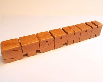 Custom Cherry Wood Name, 1 Inch Letters