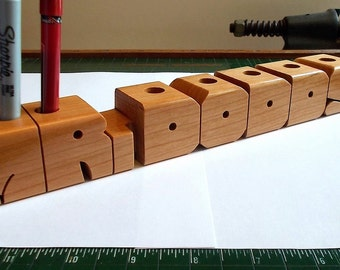 Custom Pen Name - Cherry Wood Desk Name with Organizer Holes - Made to Order