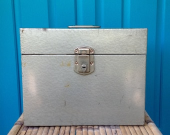 FREE SHIPPING-Vintage Industrial Gray Metal File Box w/Silver Metal Hardware-The Hamilton Scotch Corp.-Industrial Storage-Mancave-Art Deco