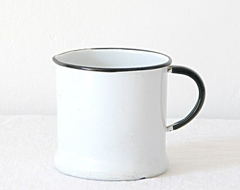 Enamelware Pitcher Vintage White Black Enamelware Pitcher Mug Cup Rustic Primitive Farmhouse Country Cottage Flower Vase