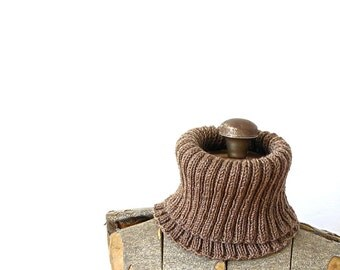 Cowl Scarf Wool Rib Knit Brown Cowl Winter Autumn Fall Holiday Gift
