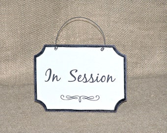 Small Wooden Sign, Business Plaque Door Hanging, Office Signage, In Session Wood Sign, Office Accessory Wall Hanging, Professional Workplace