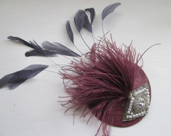 Fascinator/ Bridal hair accessories/ wedding hair accessories/ New handmade wine & pewter feather fascinator