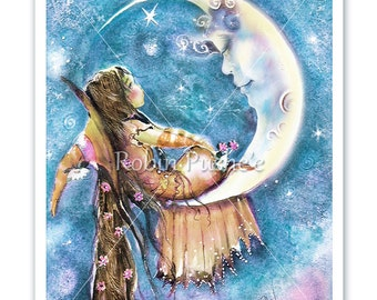 Little Witch , Man-in-the-Moon,  Print,  from original painting. Two Colors, Two Sizes