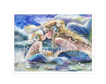 3 Colors, Kissing Mermaids, Mother  and Child art 12 x 16 Art PRINT from original