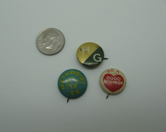Set 3 Small Vintage Pinback Buttons
