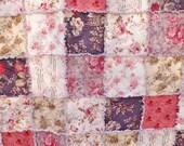 Rag Quilt, Queen Size Rag Quilt, Cottage Chic Pink, Taupe, Ecru, Gray Rag Quilt, Pretty Florals, Bed Quilt, Floral Rag Quilt, Handmade