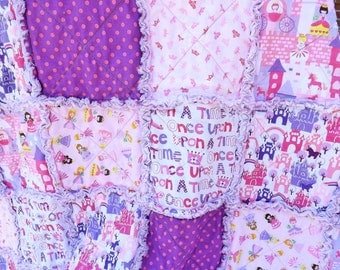 Princess Rag Quilt - Pink Purple - Girl Rag Quilt - Crowns Castles - Princess Quilt