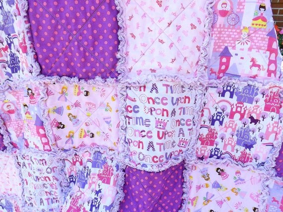Princess Rag Quilt - Pink Purple - Girl Rag Quilt - Crowns Castles - Princess Quilt
