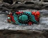 Jewelry - Free Form Peyote Stitch Beaded Bracelet  - Energy - Bead Weaving - Turquoise Coral