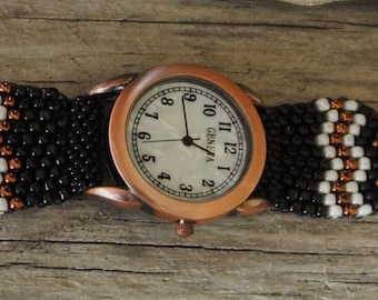 Father Time Copper/White Face - Free Form Peyote Stitch Beaded Watch Bracelet