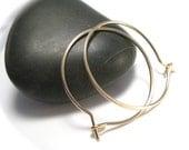 Medium Gold Hoop Earrings, Thin Gold Hoops, Inch Gold Hoops
