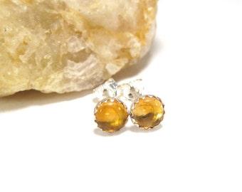 Citrine Stud Earrings, Sterling Silver Citrine Post Earrings, Honey Colored Earrings