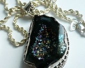 Artisan OOAK Titanium Druzy Ornate Sterling Silver Goth Punk Rock Wiccan Pagan Boho Gift for Her Pendant Necklace