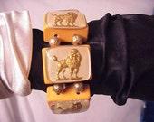 signed jan carlin designer bakelite Golden Poodle  bracelet