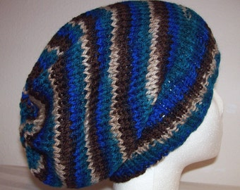 Wool Hipster Beanie - Slouchy Knit Hat - Knitted Toque - Skateboard Beanie - Variegated Blue, Brown, Tan & Teal