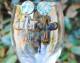Vintage Brass Earrings, Painted Brass Earrings, Cross Earrings, Colorful, The Cross Hand Painted Brass Post Earrings