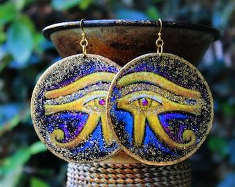 Egyptian Earrings, Kemetic Earrings, African Earrings, Eye of Horus, Wood Earrings, Eye of Ra, Eye of Horus Kemetic Wood Earrings