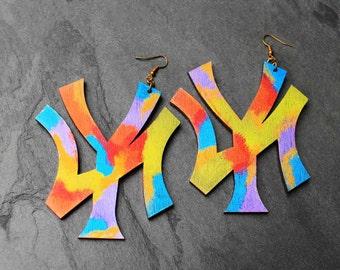 New York Earrings, Wood Earrings, NYC, Urban Earrings, Big Wood Earrings, Colorful Earrings, Repping New York Colorful Wood Earrings V2