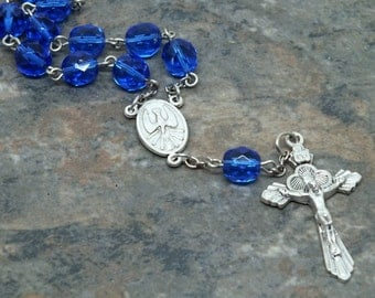 Czech Glass Car Rosary in Sapphire, 1 Decade Chaplet