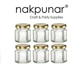 6 pcs 1.5 oz Hexagon Glass Jars with Gold Lids