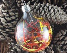 Abstract Blown Glass Ornament Design in Orange, Red and Yellow. Handblown Glass Ornament. Christmas Ornament. Suncatcher. Christmas Gift.